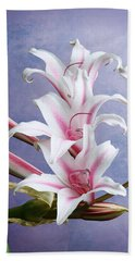 Pink Striped White Lily Flowers Bath Towel