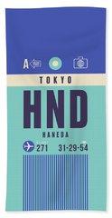 Retro Airline Luggage Tag - Hnd Tokyo Haneda Japan Hand Towel