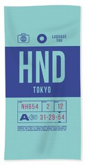 Retro Airline Luggage Tag 2.0 - Hnd Tokyo Haneda Japan Hand Towel