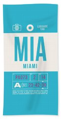 Retro Airline Luggage Tag 2.0 - Mia Miami International Airport United States Bath Towel