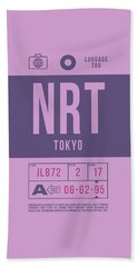 Retro Airline Luggage Tag 2.0 - Nrt Tokyo Narita Airport Japan Hand Towel