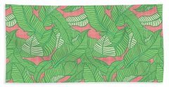 Banana Leaf Pattern Pink Bath Towel