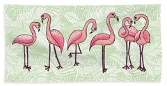 Tropical Flamingos Hand Towel