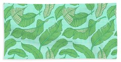 Banana Leaf Pattern Blue Bath Towel