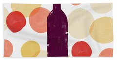Bold Modern Wine Bottle Art Hand Towel