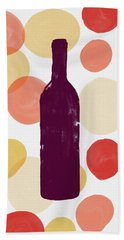 Bold Modern Wine Bottle Art Bath Towel