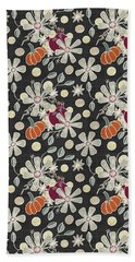 Fall Pumpkin Botanical Pattern Black Background Bath Towel