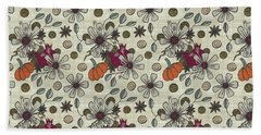 Fall Pumpkin Botanical Pattern Cream Background Bath Towel