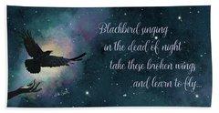 Blackbird Singing With Lyrics Hand Towel