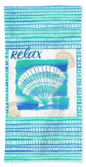 Relax Seashell Coastal Art Bath Towel