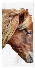 Bath Towel featuring the photograph Assateague Pony Sarah's Sweet On White by Bill Swartwout Fine Art Photography