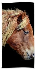 Hand Towel featuring the photograph Assateague Pony Sarah's Sweet Tea On Black Square by Bill Swartwout Fine Art Photography