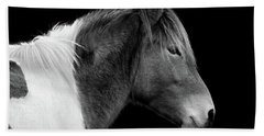 Hand Towel featuring the photograph Assateague Pony Susi Sole Black And White Portrait by Bill Swartwout Fine Art Photography