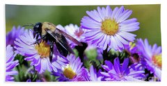 Asters And Bee Hand Towel
