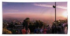 Astonishing Sunset Panoramic View Of Santiago De Chile From Cerro San Cristobal, Chile Hand Towel