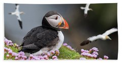 Atlantic Puffin And Soaring Gannets Bath Towel