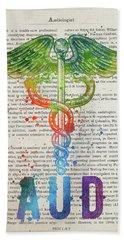 Audiologist Gift Idea With Caduceus Illustration 03 Hand Towel