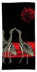 Zebra Australian Bustards Red Sun Bath Towel