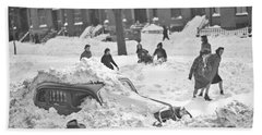 Auto Buried In Snow  Ca  1939 Hand Towel