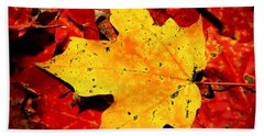 Autumn Beige Yellow Leaf On Red Leaves Hand Towel