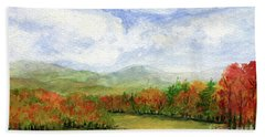 Autumn Day Watercolor Vermont Landscape Bath Towel