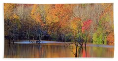 Hand Towel featuring the photograph Autumn Reflections by Angela Murdock