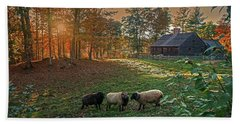Autumn Sunset At The Old Farm Hand Towel