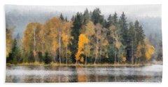 Autumn Trees On The Bank Of Lake Bath Towel