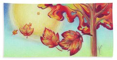 Autumn Wind And Leaves Hand Towel