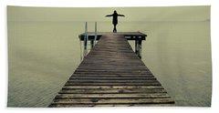 Ballerina Pose At Idyllic Lake At Winter Hand Towel