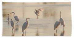 Ballet Of The Egrets Bath Towel