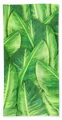 Banana Leaf 1 - Banana Leaf Pattern 1 - Tropical Leaf Print - Botanical Art - Green Bath Towel
