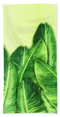 Banana Leaf 2 - Banana Leaf Pattern 2 - Tropical Leaf Print - Botanical Art - Green Bath Towel