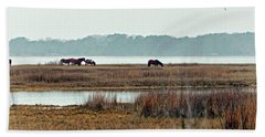 Bath Towel featuring the photograph Band Of Wild Horses At Sinepuxent Bay by Bill Swartwout Fine Art Photography