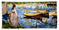 Banks Of The Seine At Argenteuil Hand Towel