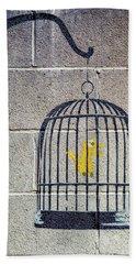 Banksy Bird Cage Detroit Bath Towel
