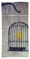Banksy Bird Cage Detroit Bath Towel