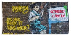 Banksy Boy Fishing Street Cred Bath Towel