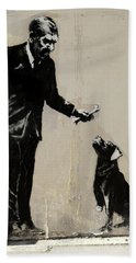 Banksy Paris Man With Bone And Dog Hand Towel
