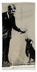 Banksy Paris Man With Bone And Dog Bath Towel