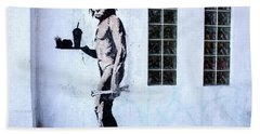 Bansky Fast Food Caveman Los Angeles Bath Towel
