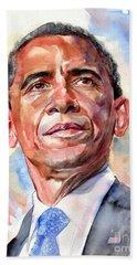 Barack Obama Portrait Hand Towel