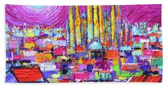 Barcelona Mystic Full Moon Over Sagrada Familia Abstract Cityscape Knife Painting Ana Maria Edulescu Bath Towel