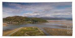 Barmouth And The Mawddach Estuary Aerial Panorama Hand Towel