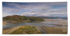 Barmouth And The Mawddach Estuary Aerial Panorama Bath Towel