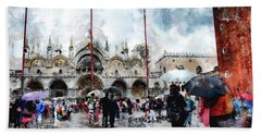 Basilica Of Saint Mark In Venice With Watercolor Look Bath Towel