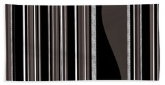 Bass Note - Random Stripes - Black And White Bath Towel