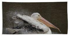 Bathing Pelican Hand Towel