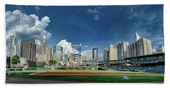 Bath Towel featuring the photograph Bbt Baseball Charlotte Nc Knights Baseball Stadium And City Skyl by Alex Grichenko