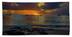 Beach At Sunset Hand Towel